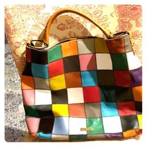 Leather patch handbag/ purse